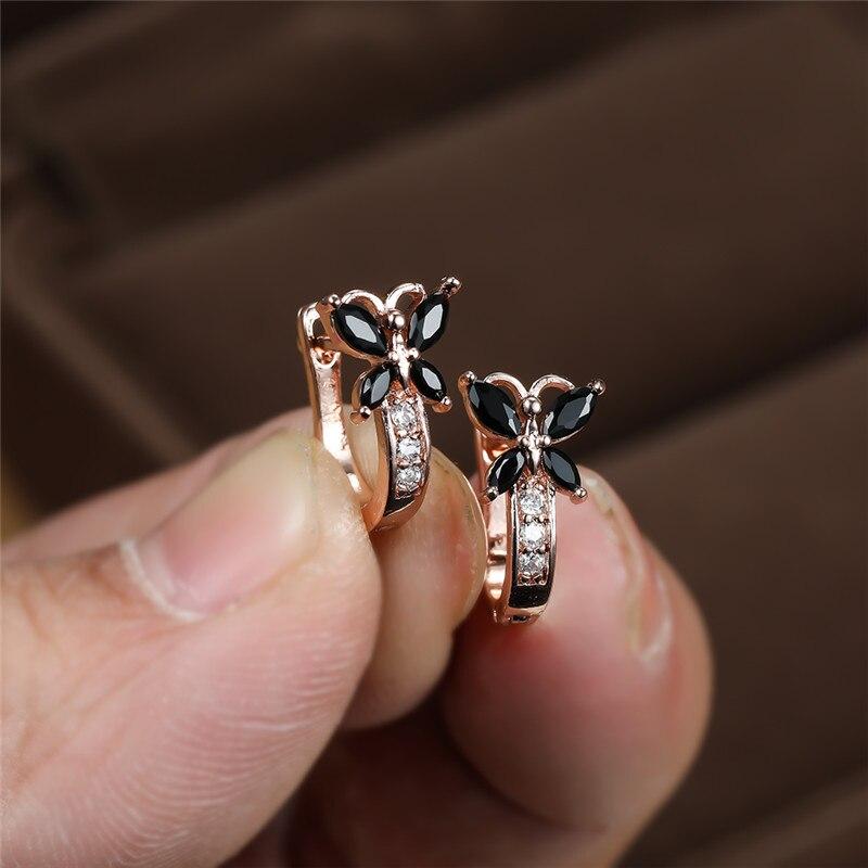 Cute Butterfly Black Stone Hoop Earrings For Women Wedding Jewelry Vintage Fashion Gold/Black/Rose Gold/Silver Color CZ Earrings