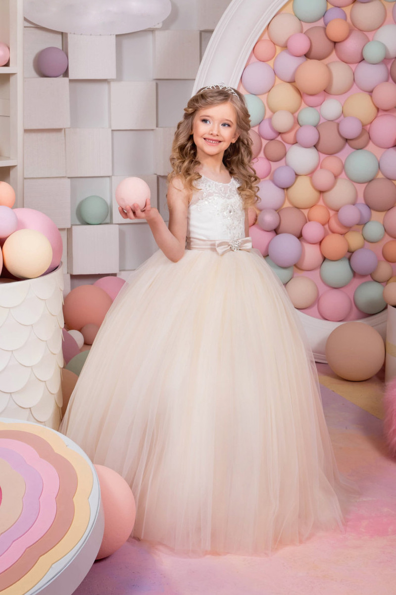 2019   Flower     Girl     Dresses   For Weddings Ball Gown Tulle Appliques Lace Beaded Bow Long First Communion   Dresses   Little   Girl