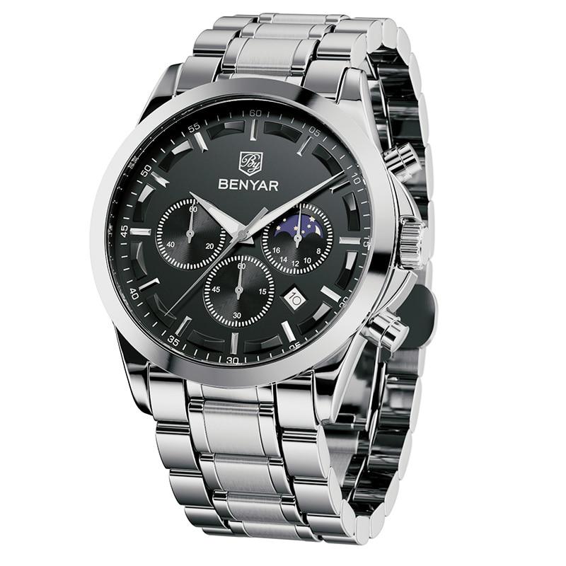 Часы-хронограф BENYAR Мужские кварцевые, стильные спортивные брендовые Роскошные деловые водонепроницаемые