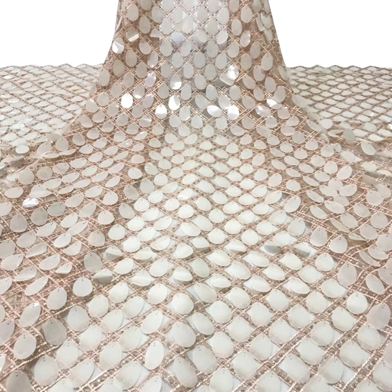 Latest African Lace Fabric Top Quality Swiss Voile Lace With Big Sequin Diamond Fabric For Fashion Evening Dress Tissu Dentelle