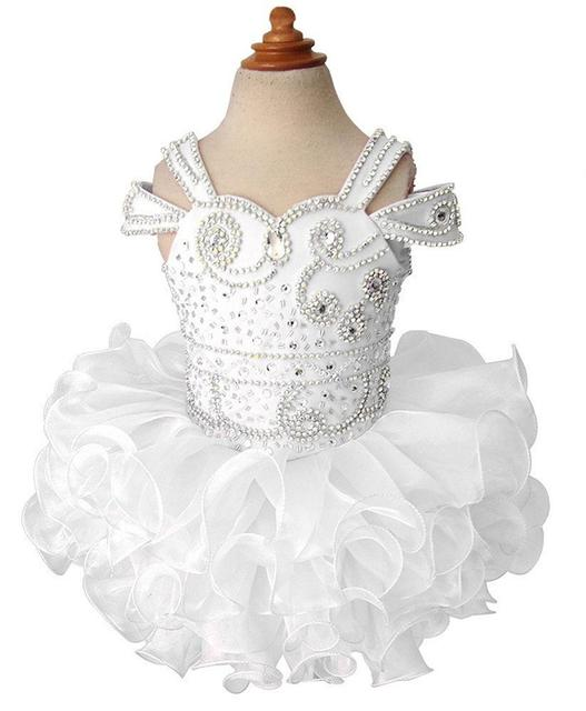 Straps Beaded Infant  First CommunioCustom Made Toddler Baby Little Girls Miss National Pageant TuTu Cupcake  Birthday  Dresses