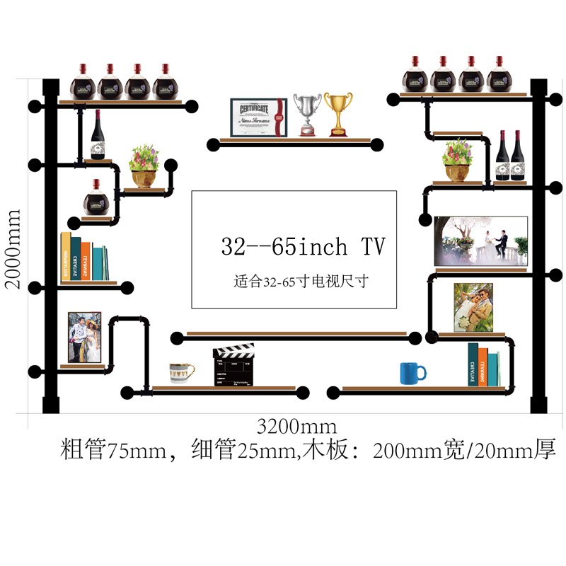 Antique Design Audio Shelf Rack Home Media Component Shelf Rack TV Cabinet Made Of Pine Wood And Iron Pipe Wine Rack