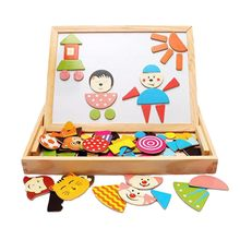 Multifunctional Wooden Magnetic Toys Children 3D Puzzle Toys For Children Education Animal Wooden Blackboard Kids Drawing Toys(China)