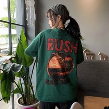 2019 B Fashion Women\'s Round Neck Cartoon And Letters Print Hip Hop Style Half Sleeve Long Clothing Loose Female T-Shirt round neck letters and wings print long sleeve men s sweatshirt