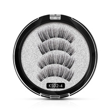 Genailish 3D Magnetic Eyelashes with 4 Magnet 3D/6D magnetic lashes False Handmade Lashes 4Pcs Eye Makeup Kit KS02-4