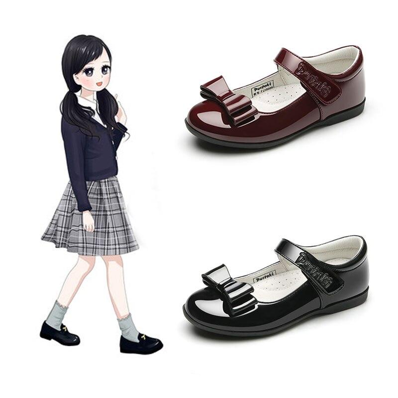 2019 г. Осенние кожаные туфли для девочек черные кожаные туфли для девочек с бантом бабочкой, нескользящая обувь принцессы на плоской подошве
