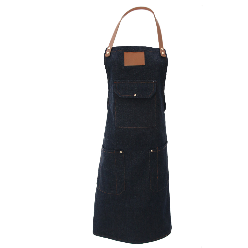 Unisex Denim Jean Apron Ideal And Fashion For Chef Barista Baker Bartender BBQ Grilling Drawing, 2 Colors(Black, Denim Blue)