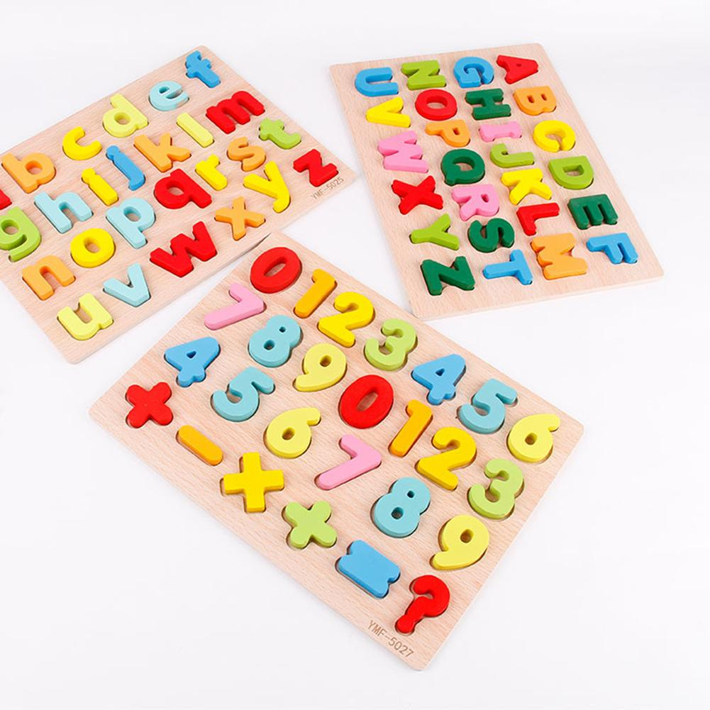 Wooden Colorful 3D Alphabet Math Number Puzzles Board Early Educational Kids Toy Good For Kids To Exercise Cognitive Competence