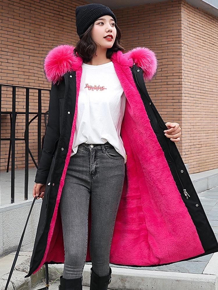Winter Coat Clothing Hooded Fur-Lining Snow-Wear Long Parkas Vielleicht-30-Degrees Women