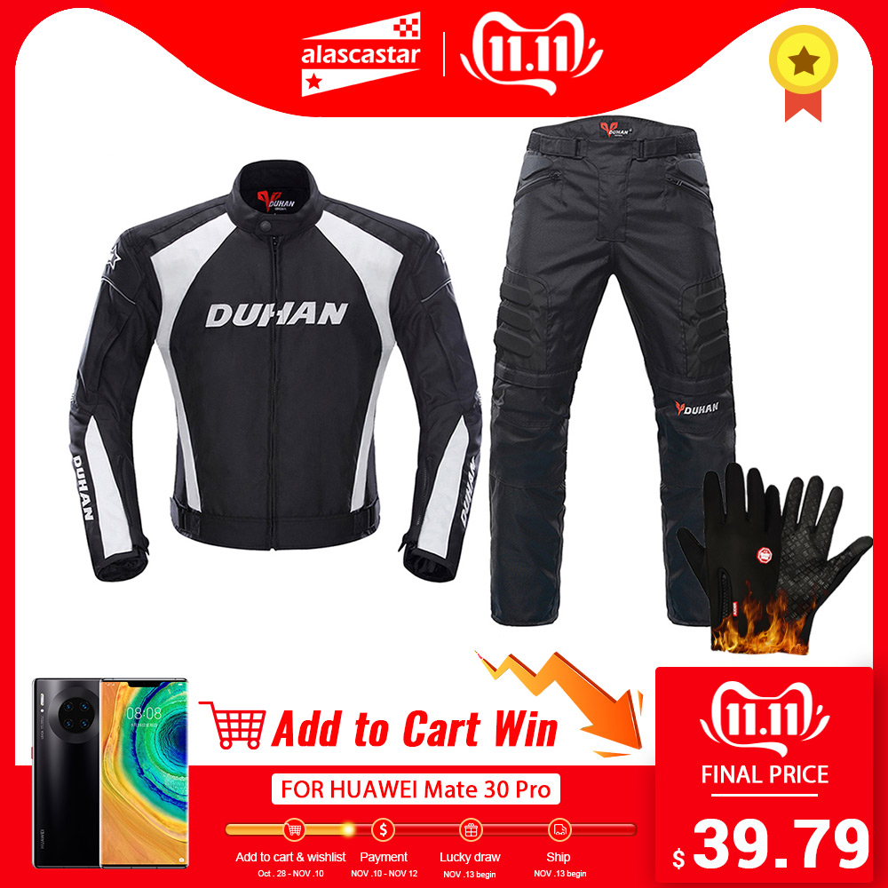 Image 1 - DUHAN Motorcycle Jacket Men Motocross Suits Jacket & Pants Moto Jacket Protective Gear Armor Motorcycle Clothing Riding Jackets-in Jackets from Automobiles & Motorcycles