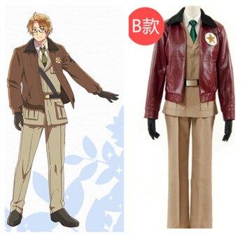 Hetalia Alfred F Disfraz de Cosplay de uniforme militar Jones America, Disfraces de Halloween para hombres, adultos, hechos a medida