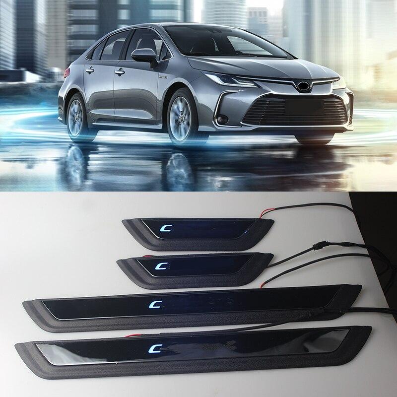 Peitoril da porta de aço inoxidável placa scuff soleiras da porta pedal bem vindo acessórios do carro para toyota corolla altis 2019 2020