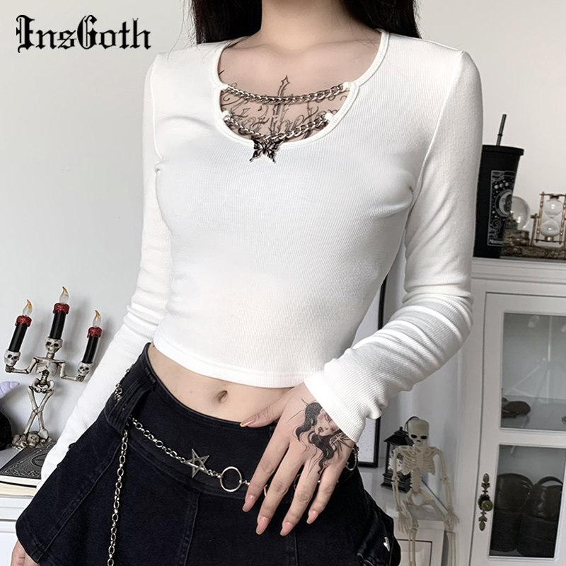 InsGoth Sexy Basic Knitted Long Sleeve T-shirts Women Gothic Punk Bodycon Butterfly Pendant Crop Tops Lady Solid Black White Top