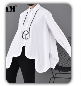 [EAM] 2020 New Spring Lapel Long Sleeve Solid Color Black Gray Split Joint Loose Big Size Jacket Women Fashion JC969 47