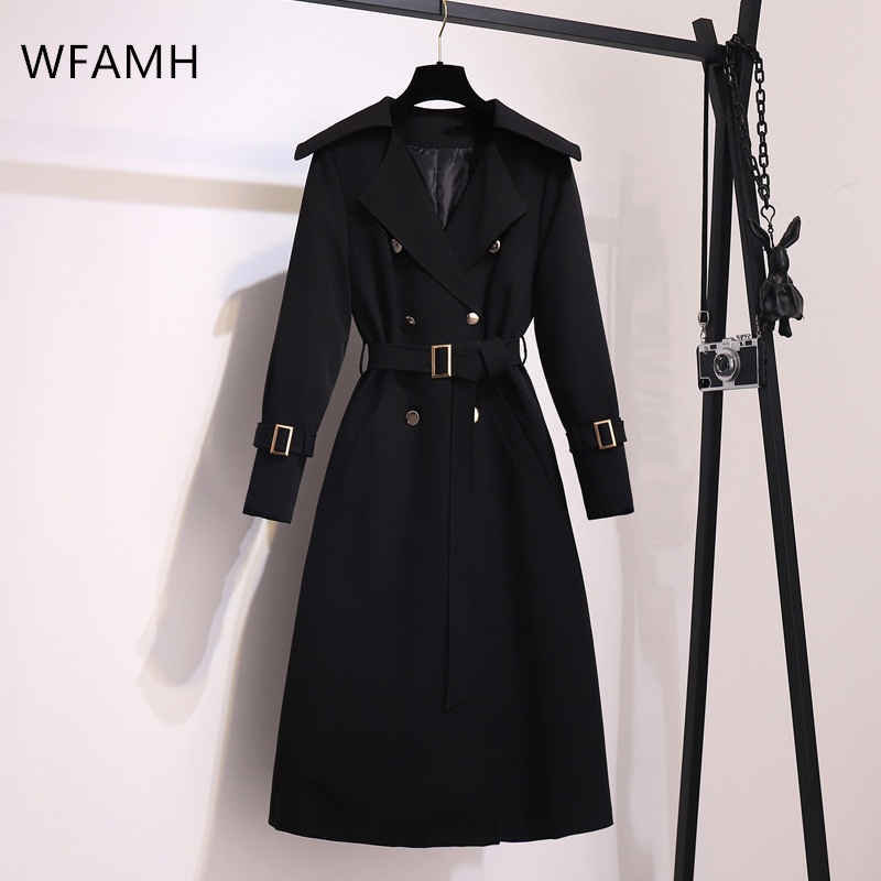 Ladies Lapel Stand Collar V-neck Belt Winter Sexy Solid Color A Line Full Sleeve Mid-length Casual Women's Fashion Trench Coat