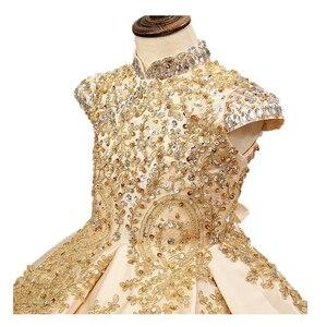 Image 4 - Lüks altın çiçek kız elbise düğün için boncuklu çocuklar akşam balo elbisesi uzun küçük kızlar pageant elbise tren ile