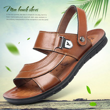 Men s Leather Sandals Summer Open Toe 2021 Men Casual Shoes Footwear New Trend Beach sandalias hombre Slides Dual Use Slippers