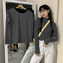 Basic Chic Striped T Shirt Women Harajuku Casual All-match Simple Long Sleeve Top Black Autumn New Korean Tshirt Femme