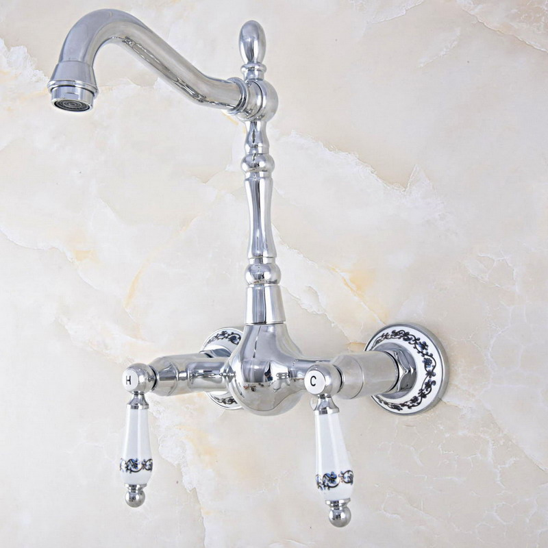 Polished Chrome Brass Wall Mounted Bathroom Kitchen Sink Faucet Swivel Spout Mixer Tap Dual Ceramics Handles Levers Mnf567