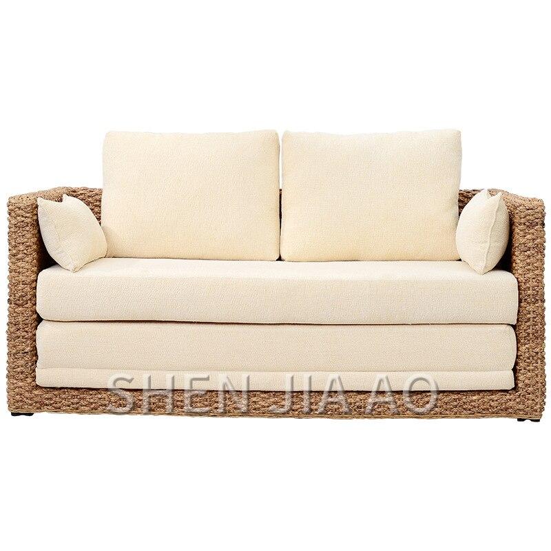 1 шт. маленькая квартира гостиная диван из ротанга двойной диван кровать из ротанга складная мебель из ротанга раскладной диван кровать дво