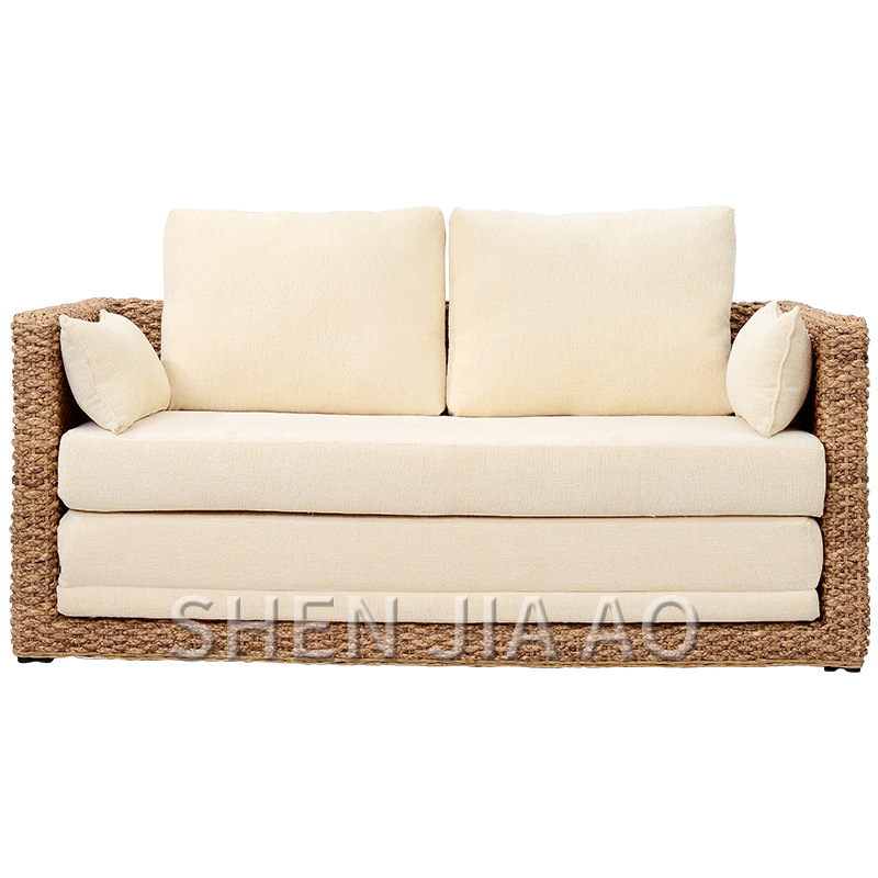 1PC Small Apartment Living Room Rattan Sofa Double Rattan Sofa Bed Foldable Rattan Furniture Folding Double Form Sofa Bed image