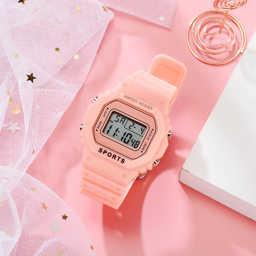 Pink Women Digital Watch Waterproof Sports Unisex Watches Silicone Male Watch Rectangle Children Sport Clocks Relogios Feminino