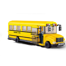 382Pcs Big School Bus Car Building Blocks Sets Legoingly Bricks City DIY Playmobil Educational Toys For Children Christmas Gifts