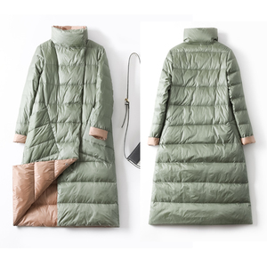 Image 5 - Duck Down Jacket Women Winter Long Thick Double Sided Plaid Coat Female Plus Size Warm Down Parka For Women Slim Clothes 2020