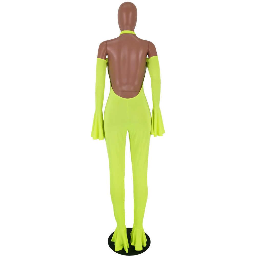 RAISEVERN 2019 Casual sólido Halter cuello sin tirantes Backness Ruffle manga mono mameluco alto elástico Campana-bottoms trajes