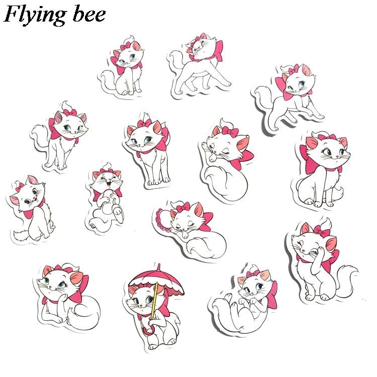 38 Flyingbee 38 יח מארי חתול kawaii אופנה מדבקה מדבקות Pvc רעיונות מדבקה עבור מחברת טלפון נייד DIY אביזרי X0712 (3)