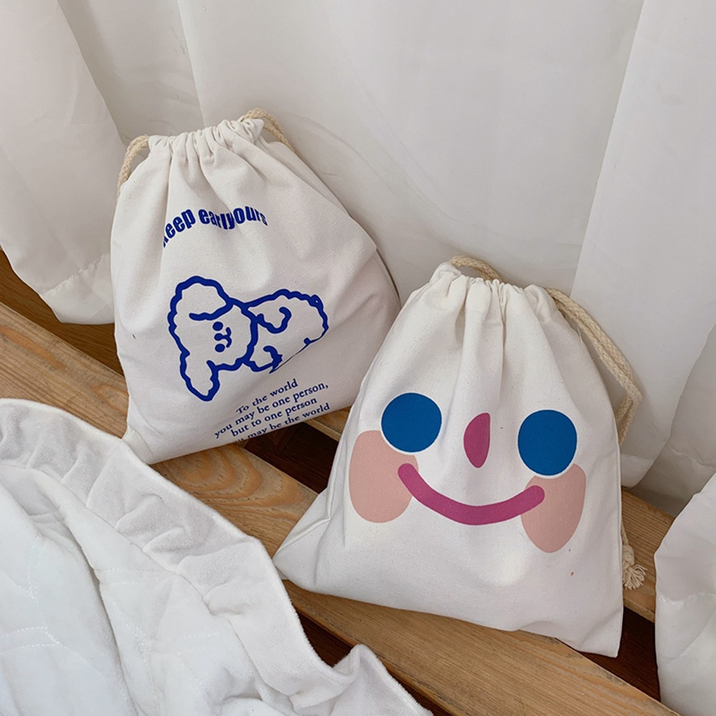 Sweet Girls Canvas Bags Cartoon Printed Drawstring Bags 2020 Fashion Crossbody Bags Casual Simple Shoulder Bag