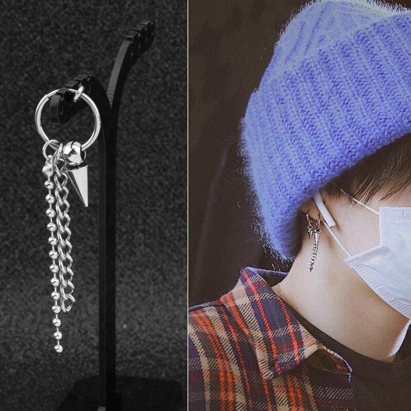 1pcs Kpop JIMIN Stud Earrings Fashion Bangtan Boys Stainless Steel High Quality Ear Stud Chain Tassels Kpop Bangtan Album