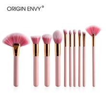 ORIGIN ENVY 10/4pcs Makeup Brushes Set Pink Wood Handle Foun