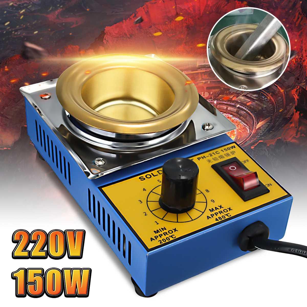 220V 150W 50mm Soldering Desoldering Stainless Steel Plate Solder Pot Desoldering Bath 200-480°C