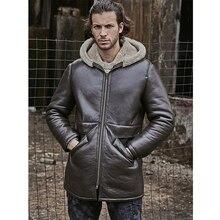 Новая мужская куртка из овчины B3, Длинная кожаная куртка с капюшоном, меховое пальто, мужские зимние пальто