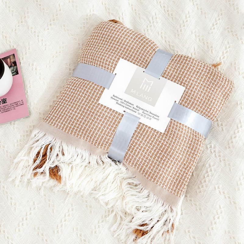 Хлопковое муслиновое летнее одеяло для кровати, дивана, дышащего стиля, мягкое одеяло для пикника, путешествий - Цвет: camel