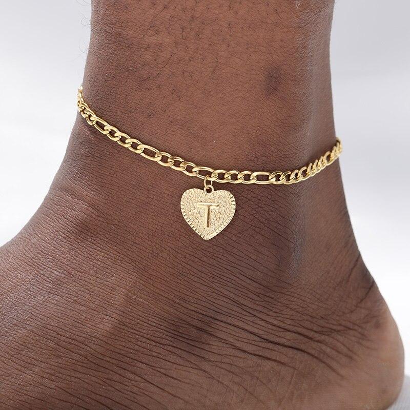 Letter Anklet Leg-Bracelet Beach-Accessories Barefoot Women Jewelry Heart-Initials Gold-Color