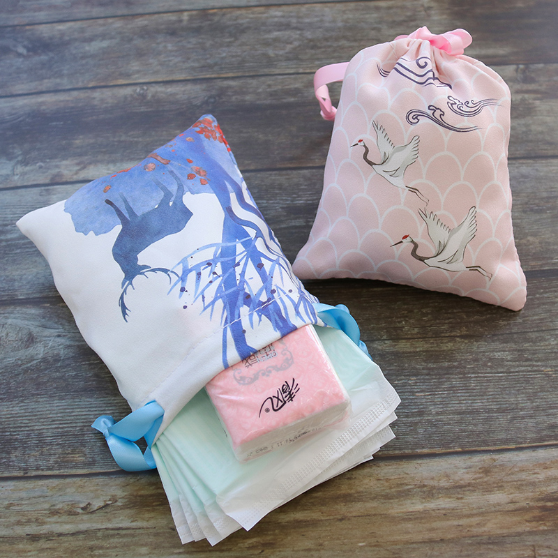 Drawstring Cosmetic Bag Wedding Candy Packaging Bag  Jewelry Storage Bag Sanitary Napkin Storage Bag Lipstick Bag Customizable