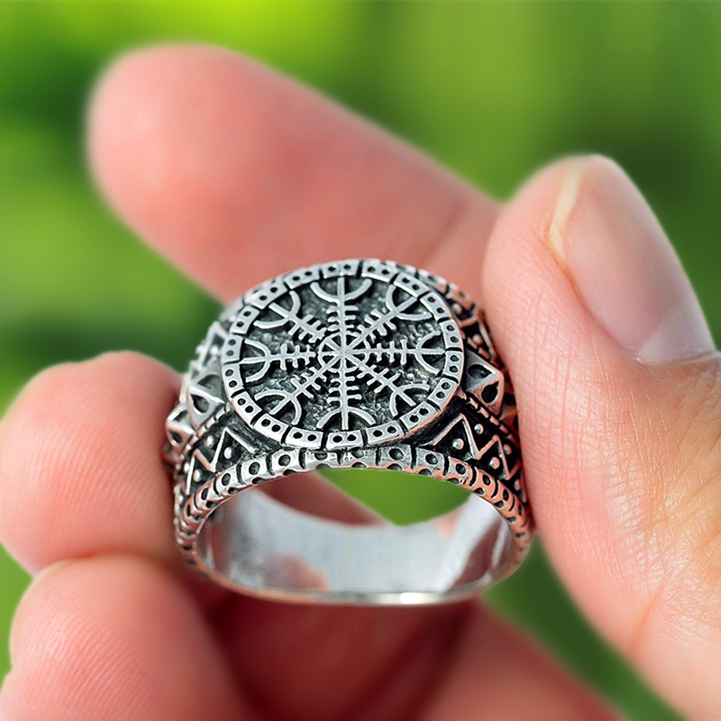 Viking Schmuck Helm von Ehrfurcht Aegishjalmur Edelstahl Ring Männer der Nordischen Amulett Ringe Geschenk für Ihn