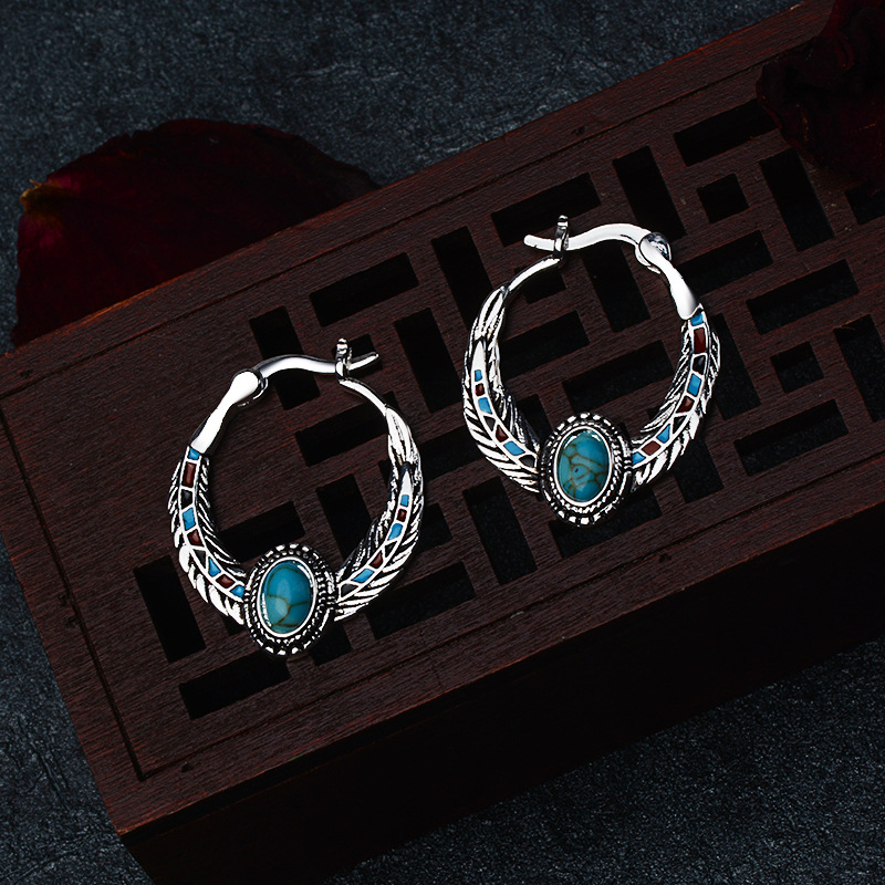 Women's 925 Silver Inlaid Turquoise Eagle Feather Earrings Engagement Wedding Gift Jewelry Vintage Earrings