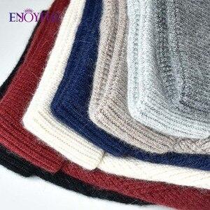 Image 5 - Enjoyfur冬の帽子毛皮pompom帽子暖かいウールだらしないビーニー女性のファッションskullies女性帽子