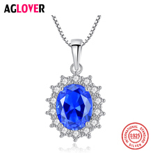 AGLOVER 100% 925 Sterling Silver Blue Snowflake Pendant Necklace With AAA Zircon For Women Fashion Luxury Jewelry Gift 2019 New