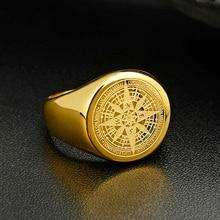 Valily ювелирные изделия для мужчин s кольцо Простой дизайн кольцо с компасом Золото Нержавеющая сталь Мода черный ремешок кольца для мужчин и женщин навигатор кольца