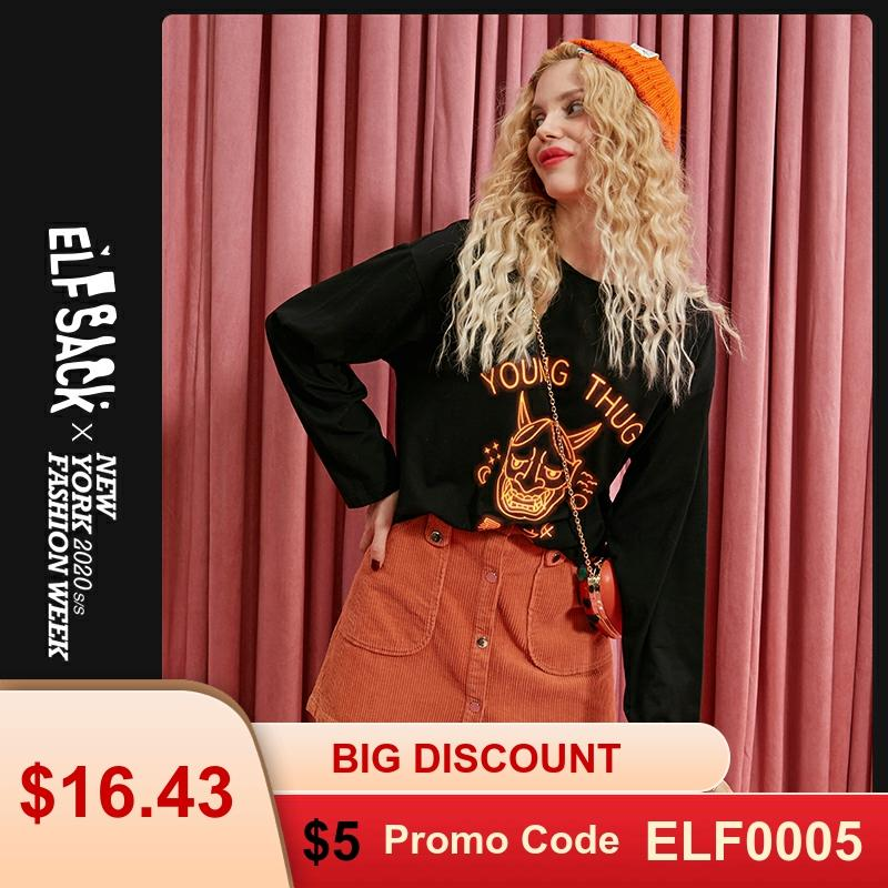 ELFSACK Black Letter Print Women T Shirt Women Tops 2019 Halloween Oversize Female Streetwear Casual Ladies Tee Shirts
