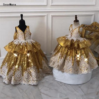 Gold Sequined Ball Gown Girls Pageant Dresses Vintage Lace Ruffles Bow Toddlers Kids Clothes Baby Girls Birthday Party Gown