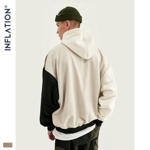 Image 2 - Design de inflação fw 2020 contraste cor dos homens moda hoodies bloco cor masculino hoodie com logotipo impresso rua wear masculino solto ajuste
