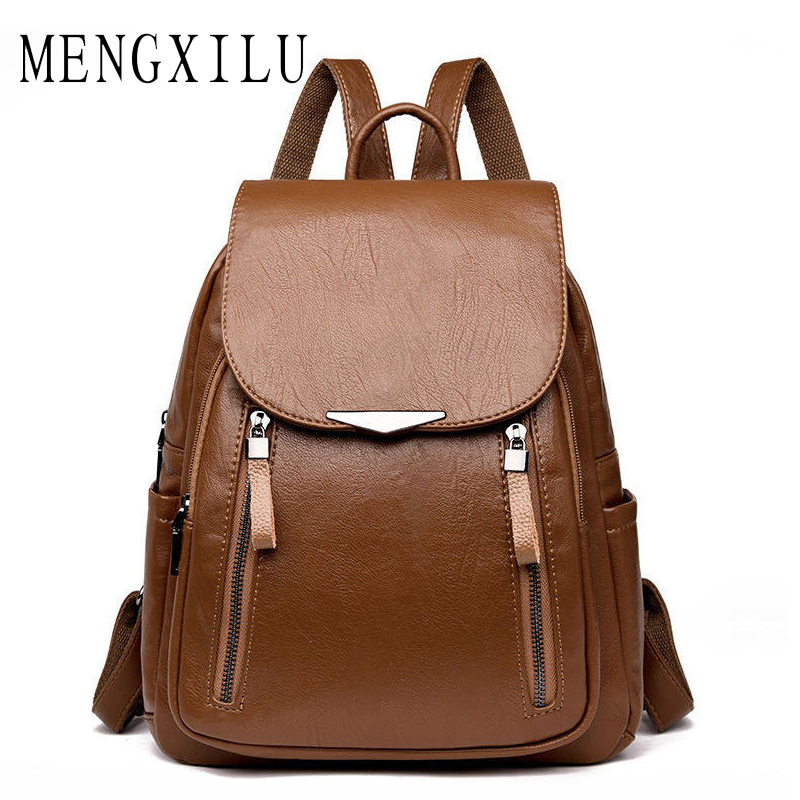 Vintage Backpacks for Women 2020 High Quality Leather Women's Backpack Retro School Bag for Girls Ladies Leisure Shoulder Bags