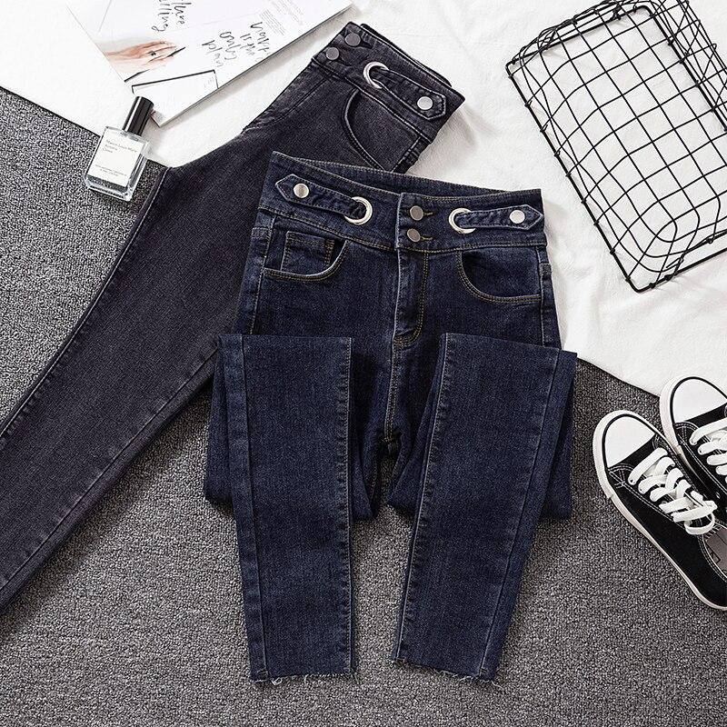 New Woman Jeans Skinny High Waist Gray Denim Pencil Pants Woman Elastic High Quality Chic Jean Female 2020 Korean