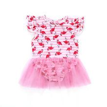 Детский купальный костюм с фламинго для маленьких девочек, боди с юбкой-пачкой из тюля для маленьких девочек, летняя пляжная одежда для купания, купальный костюм для детей от 0 до 24 месяцев
