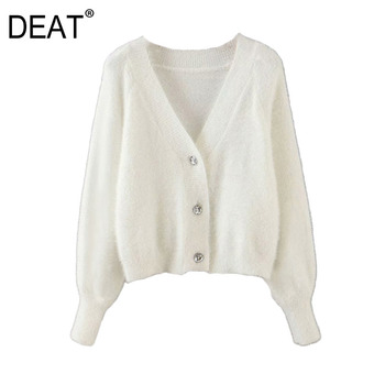 DEAT Mohair Button Solid Knitted Cardigan Sweater Loose Fit V-Neck Long Sleeve Women New Fashion Tide Autumn Spring 2021 13T281 1
